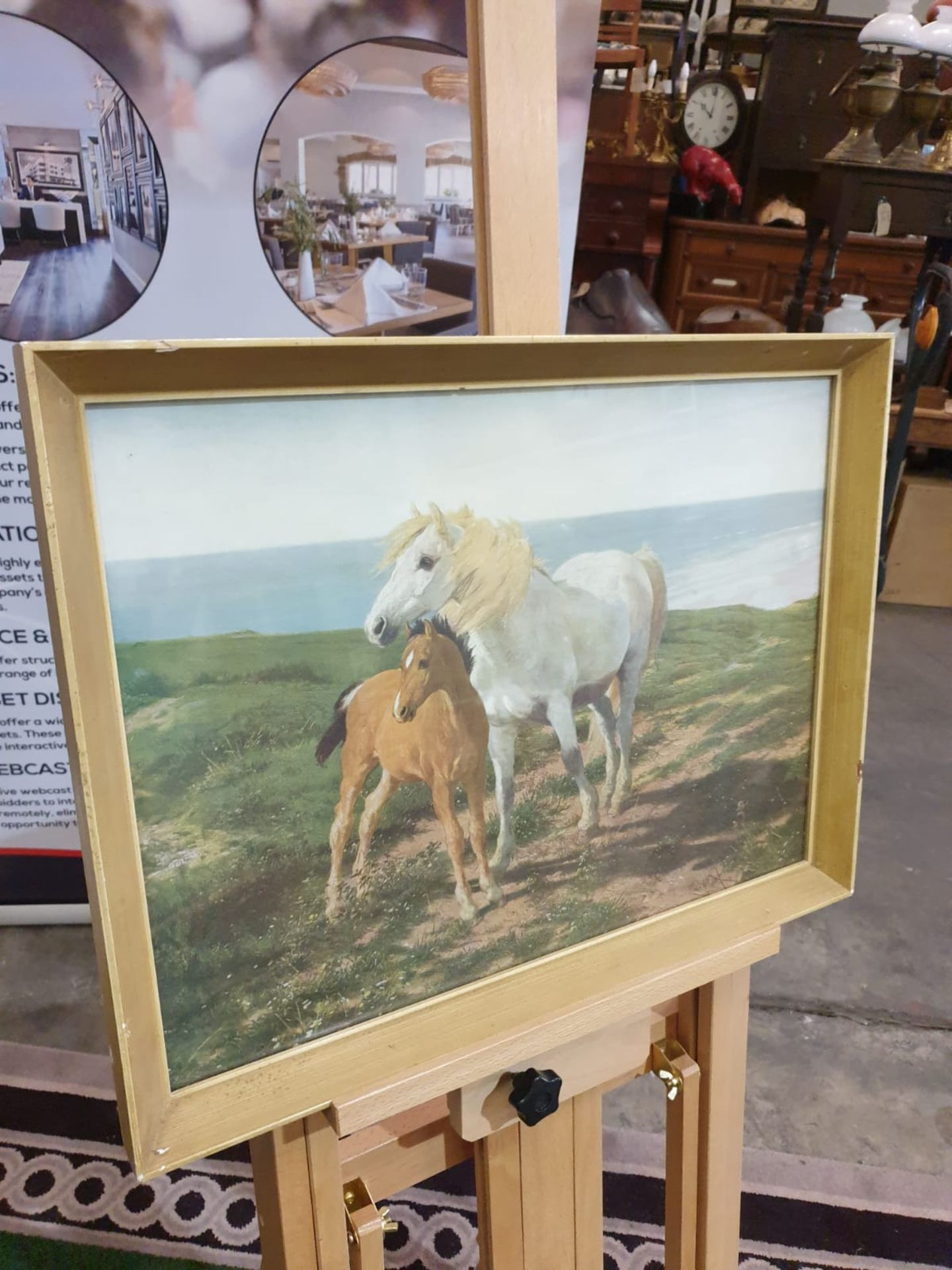 Framed vintage print of a a horse and her foal on a cliff overlooking the sea 60 x 45cm - Image 3 of 3