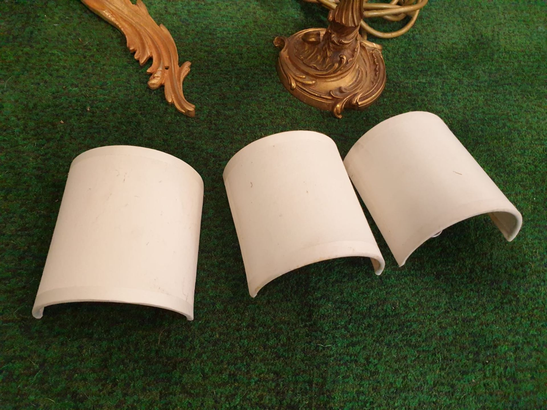 A set of 4 x French Dore Bronze triple arm branch Candelabra wall sconces in the Louis XV Style - Image 7 of 7