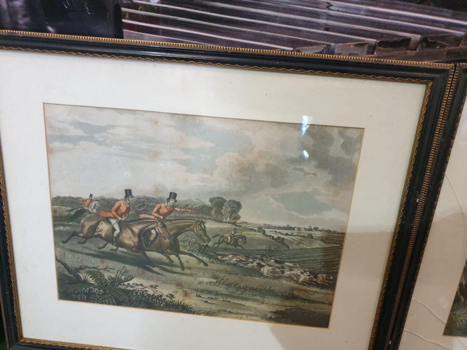 Set of 4 hunting aquatint prints in Black frame-50 x 42cm - Image 6 of 6