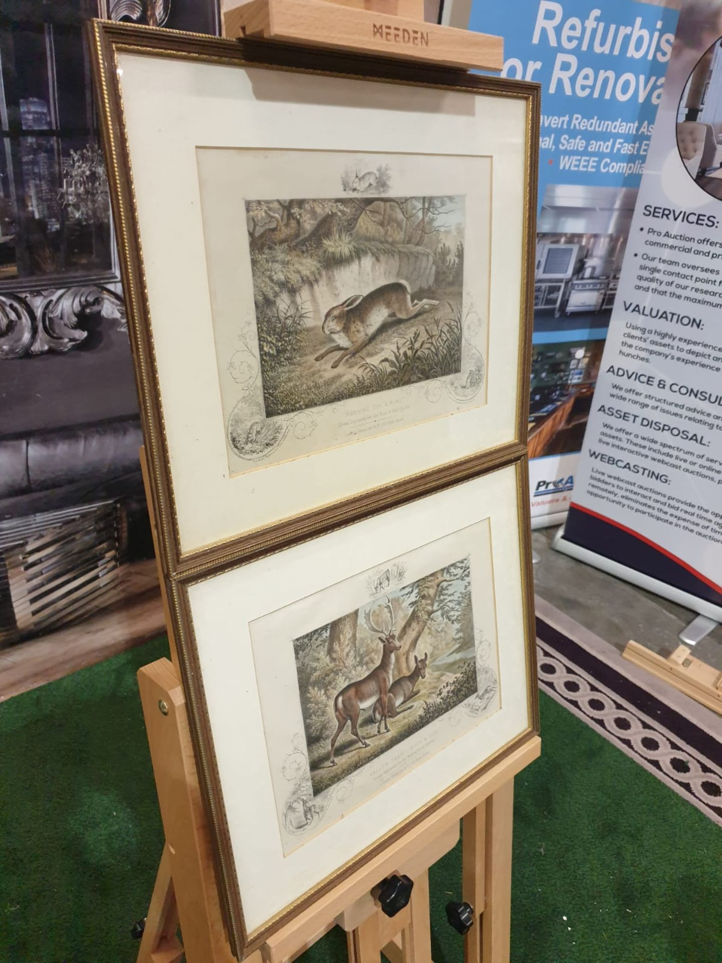 """2 x framed lithographic prints Running for """"A Ring"""" Lithograph, hand coloured, c. 1860. - Image 3 of 6"""