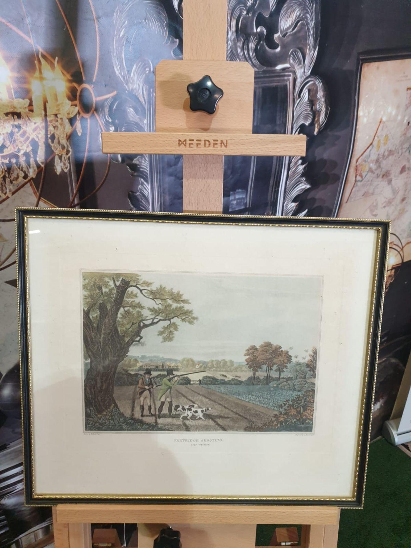 Framed vintage aquatint Partridge shooting near Windsor. HAVELL Jr., Robert. Publisher: J Brooker - Image 2 of 5