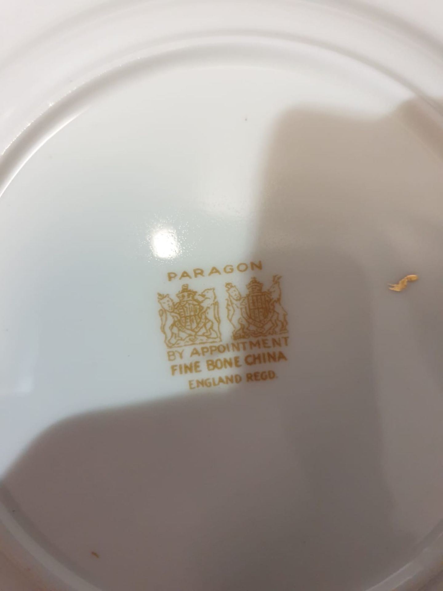 A Paragon England fine bone China partial tea service floral with gold rim comprising of 11x serving - Image 2 of 3