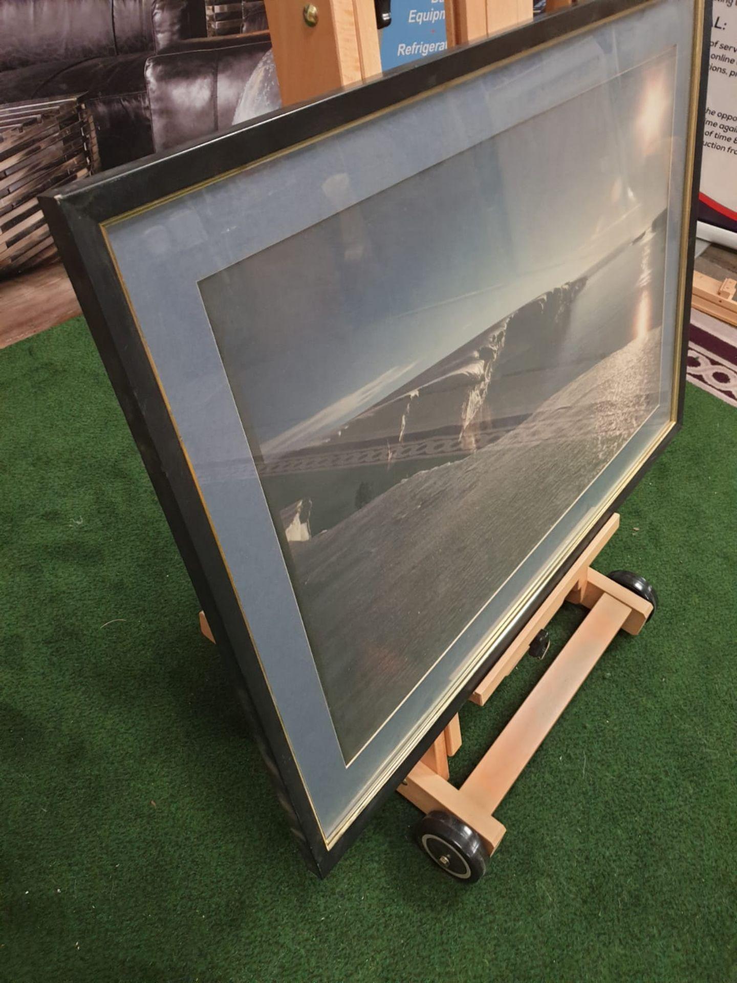 A large framed Seascape - Glaciers modern black frame 90 x 65 - Image 3 of 4