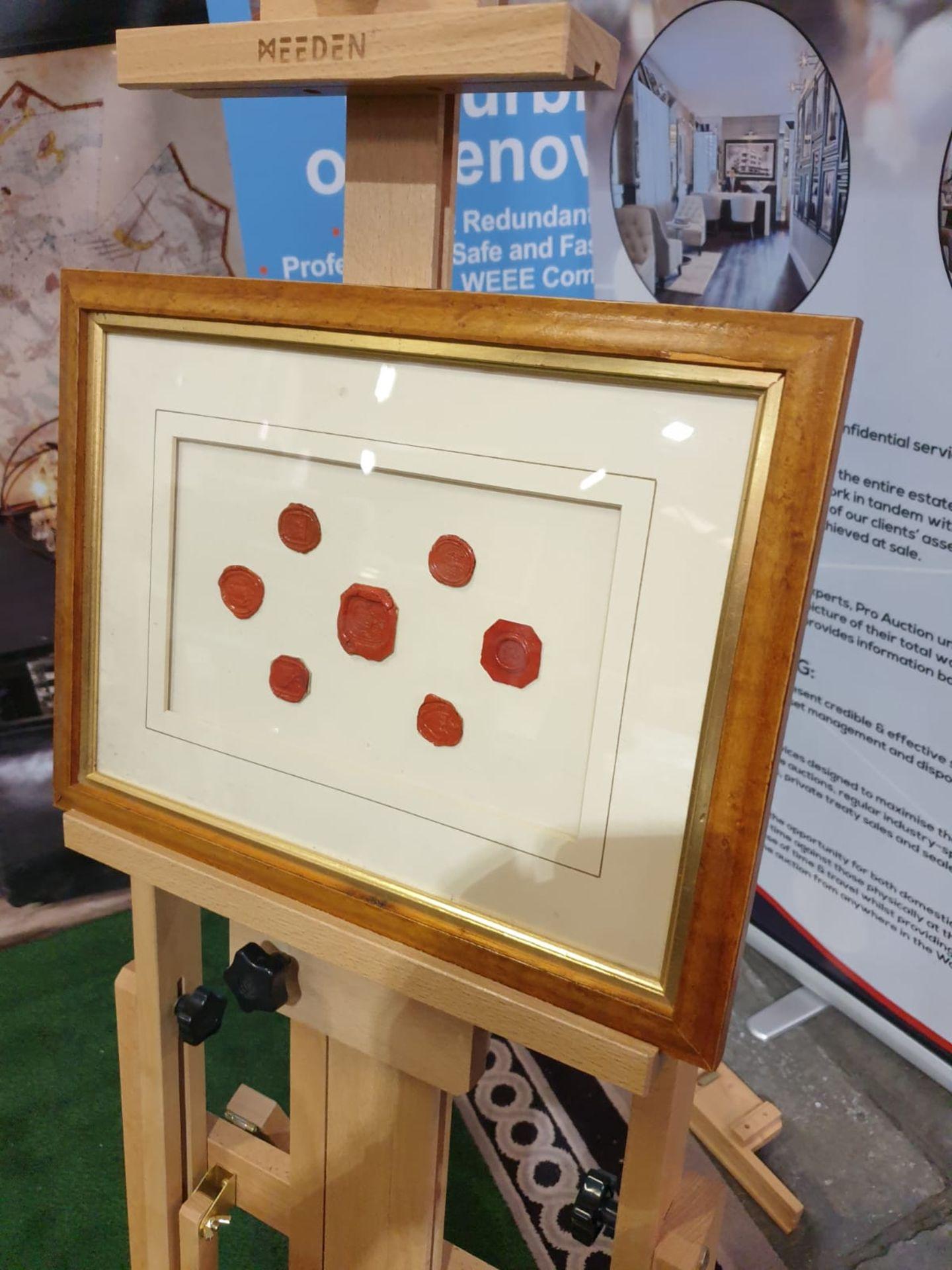 Framed artwork of wax Seals in Wood frame 42 x 32cm - Image 2 of 4