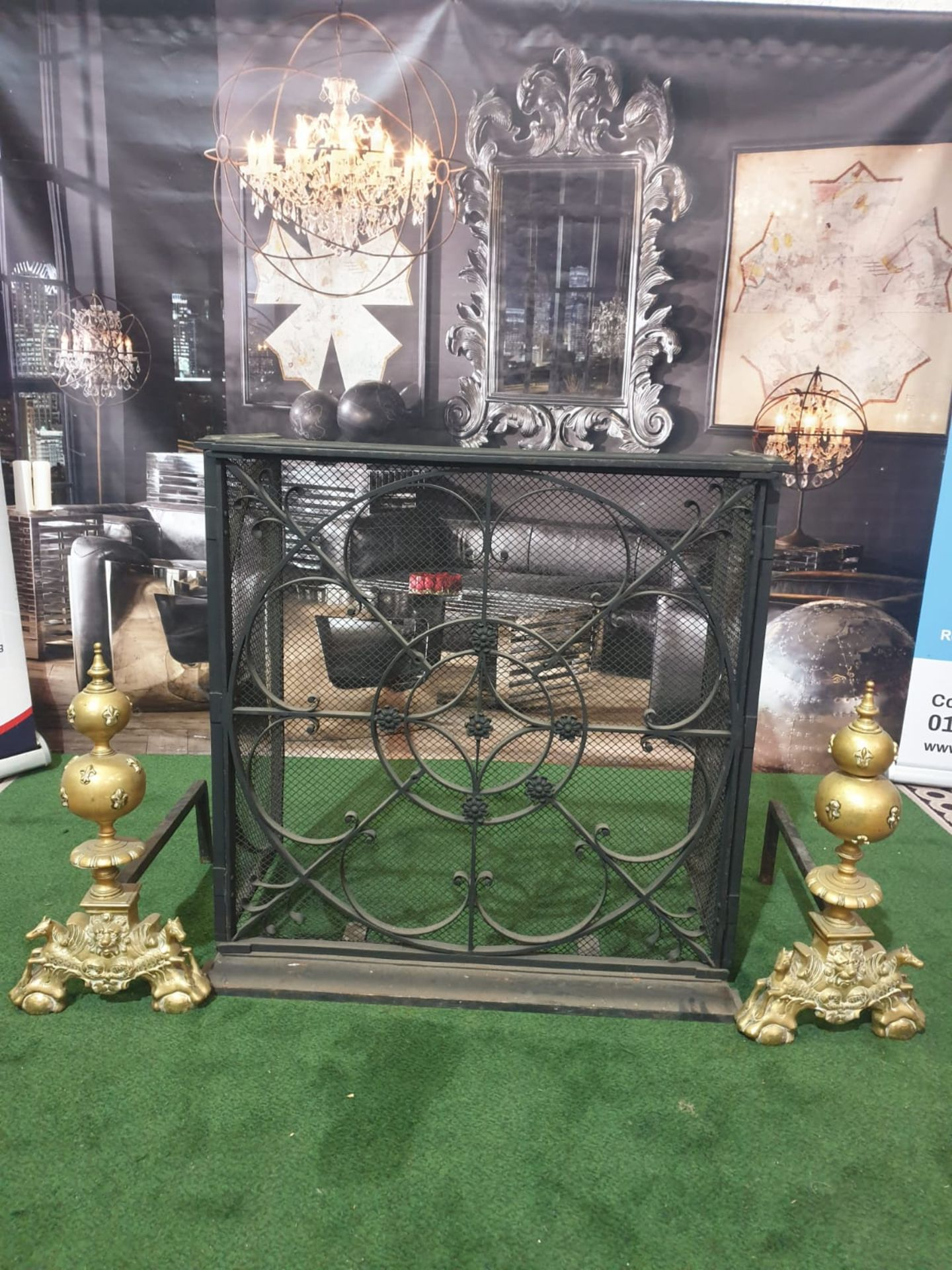 A cast metal fire guard with a pair of Brass Fire Andirons Ornate yet simple and elegant design in - Image 3 of 3