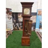 Provincial, mahogany or mahoganized oak, two weight, eight day time and hourly striking longcase