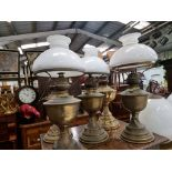 5 x Brass oil lamp with opaque white glass shade, late Victorian.c. Circa 1890. These oil lamp looks