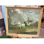 Framed coloured print In Regency Times, (Regency Figures, Horse and Carriage, in a City Street)After