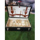 A vintage black picnic box with partial set contained as photographed 61 x 38 x 19cm