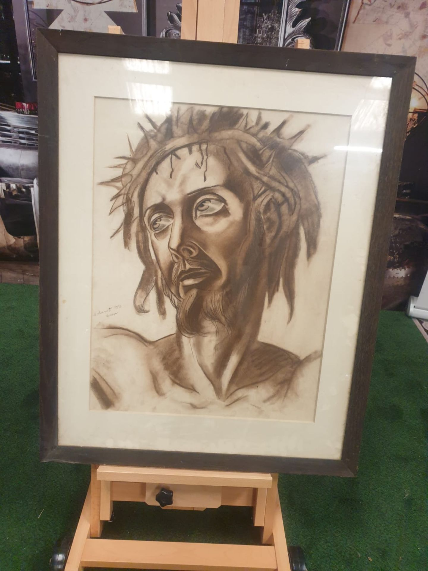Drawing wash attributed to Michail Semiovitch Rodionoff 1885-1956 Christ with crown of thorns c. - Image 2 of 5