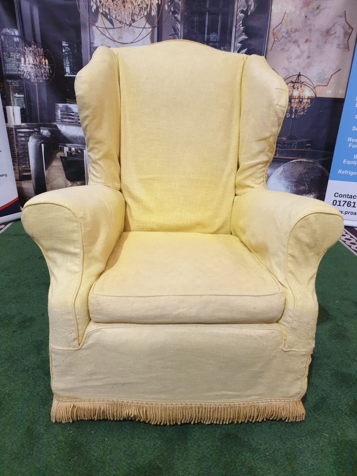 A 1940s style upholstered wing back armchair An elegant and unusual wing chair with curvaceous - Image 2 of 3