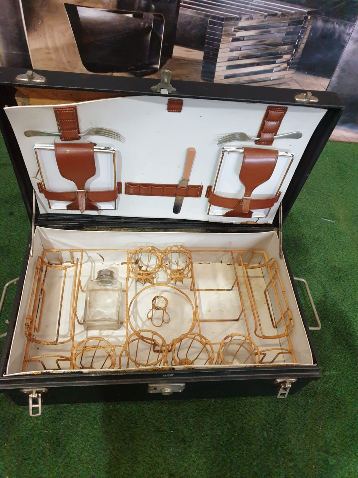 A vintage black picnic box with partial set contained as photographed 61 x 38 x 19cm - Image 2 of 3