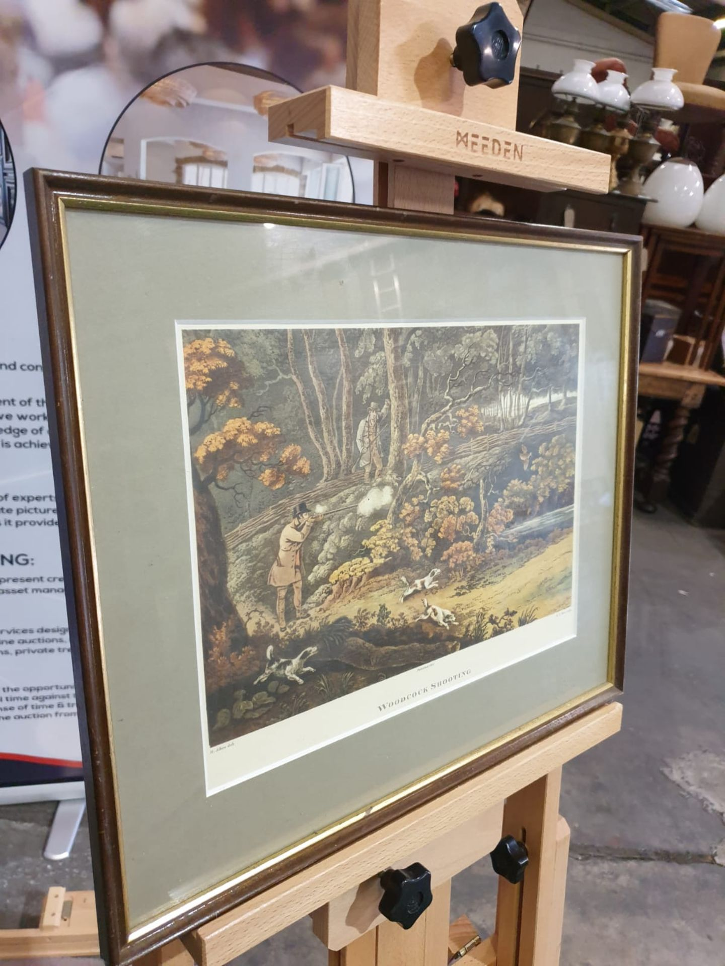 Framed coloured lithograph Woodstock Shooting R.G. Reeve, published 1806 44 x 37cm - Image 3 of 4