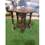 Oak gate leg table with plaque pinned reading Mr Mrs Mason House Estate Employee January 24th 1951