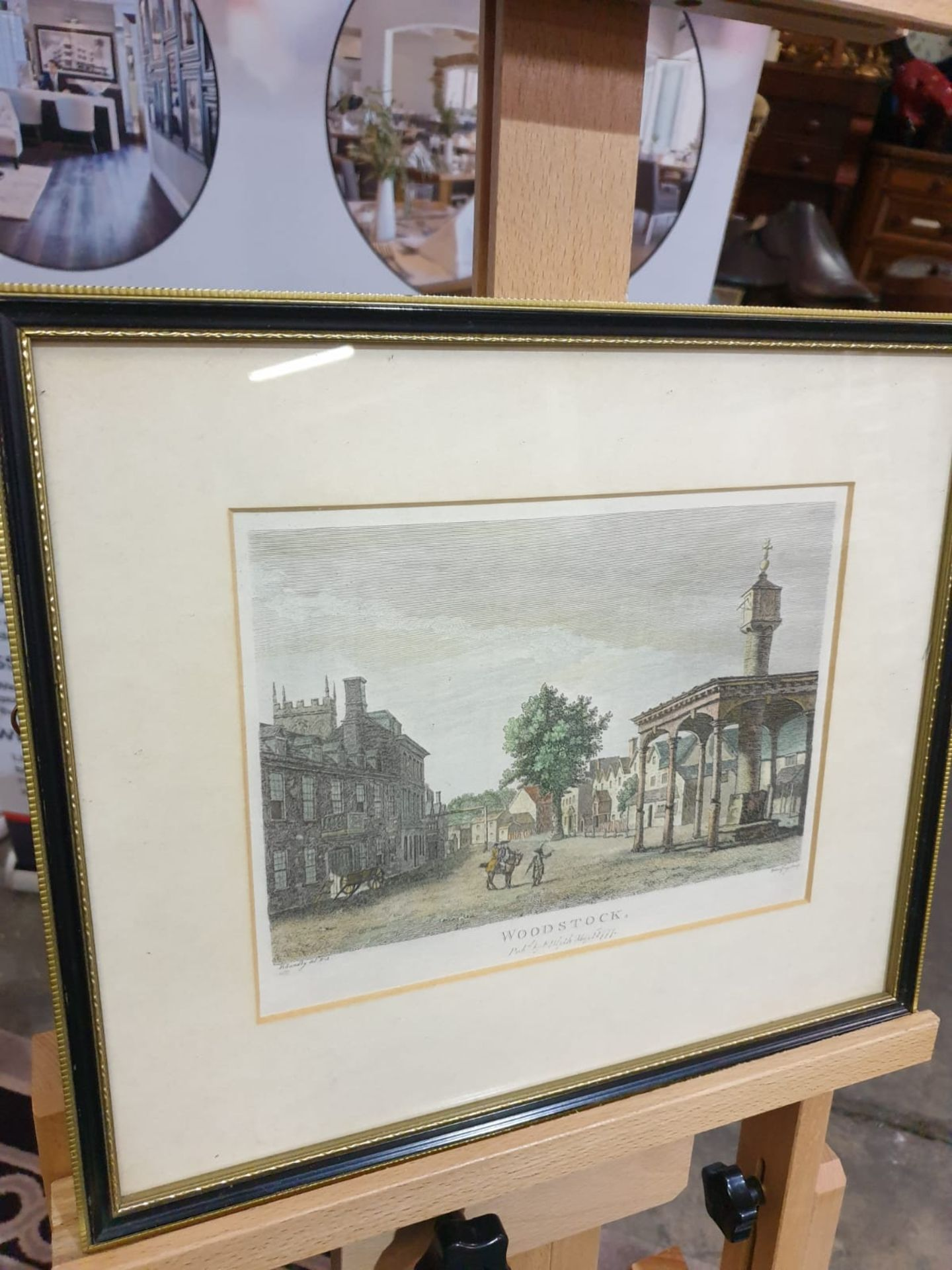 Framed Paul Sandby - Woodstock, hand-coloured etching by Godfrey, published by F. Blyth 1777 36 x