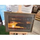 A modern framed print Horizon landscape in Gold frame 56 x 41cm