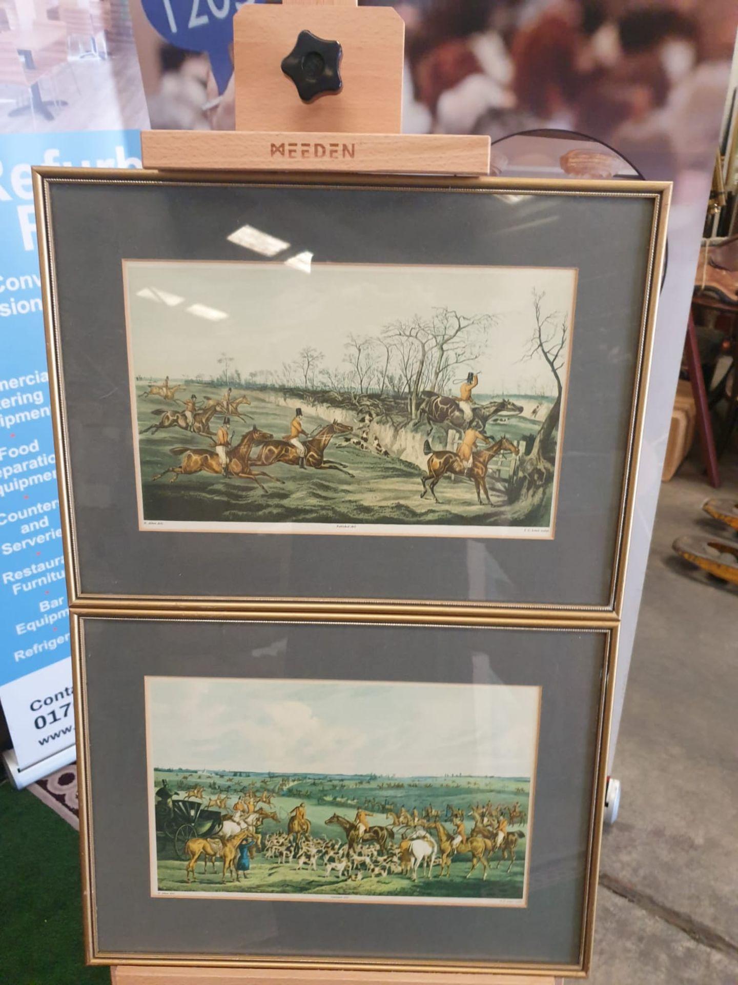 "A set of 2 framed coloured prints THE MEET"" 1835 Hunting H. Alken Delt. F.C Lewis Sculpt. 44 x"