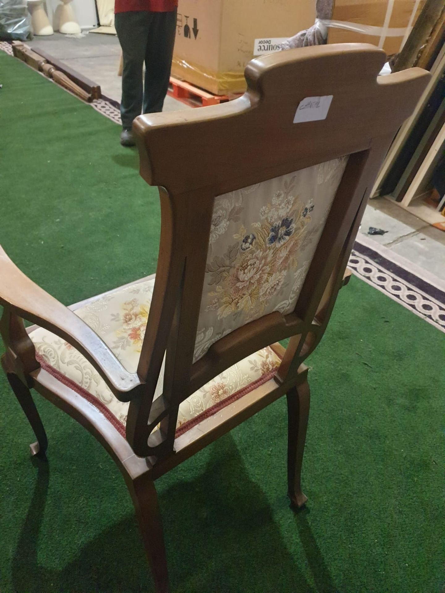 A mahogany and marquetry armchair.The flower and leaf-inlaid shaped toprail above an oblong padded - Image 4 of 5