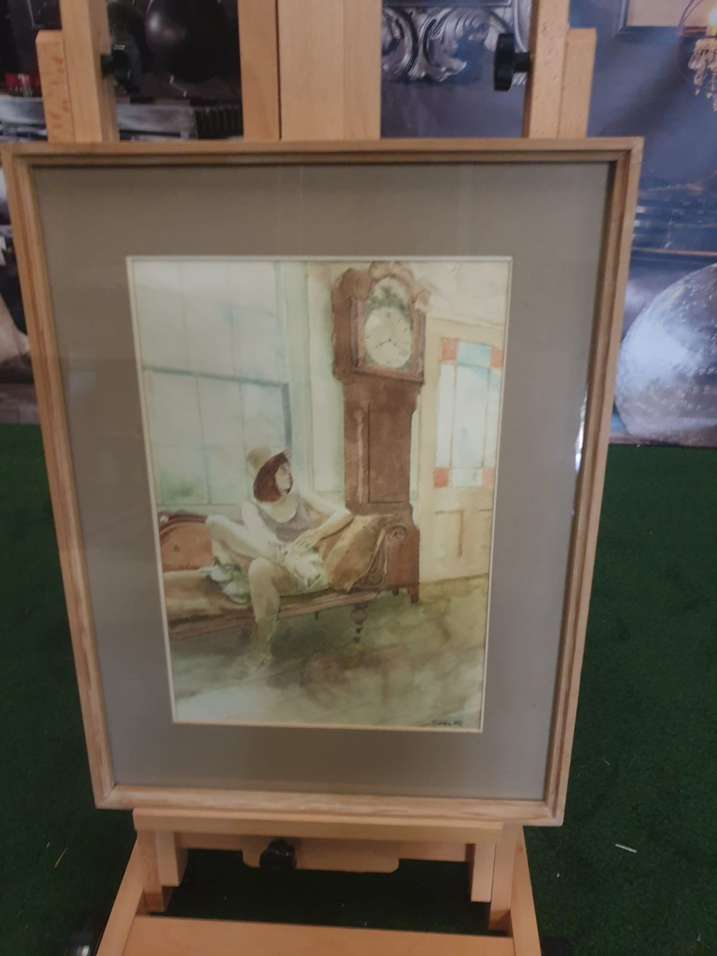 Framed watercolour Woman on chair by Grandfather clock singed and dated by Michael Smee '80 - Image 2 of 5