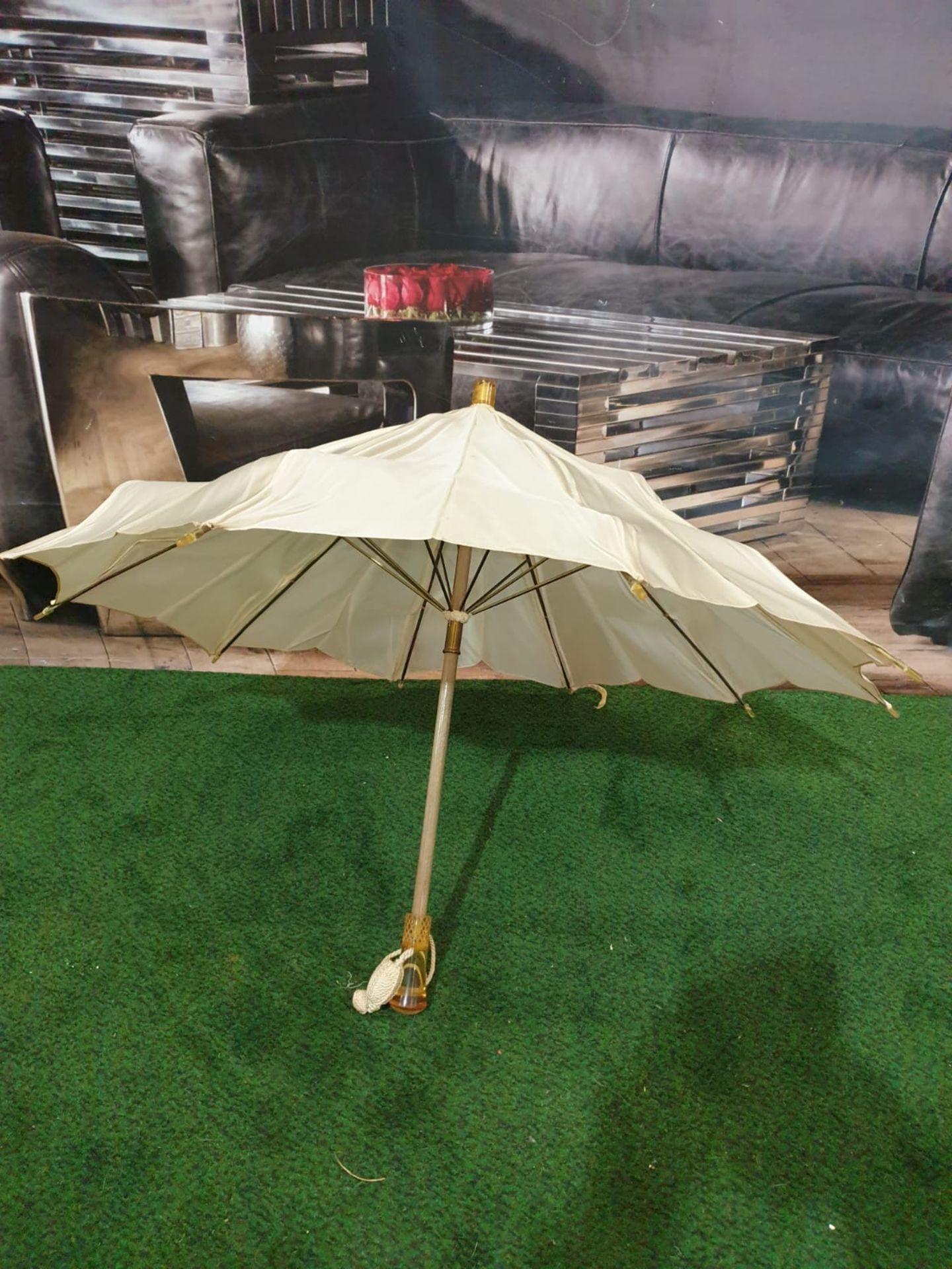 Ladies parasol Cream silk-like material - Yellow handle. Needs T.L.C. - Image 2 of 4