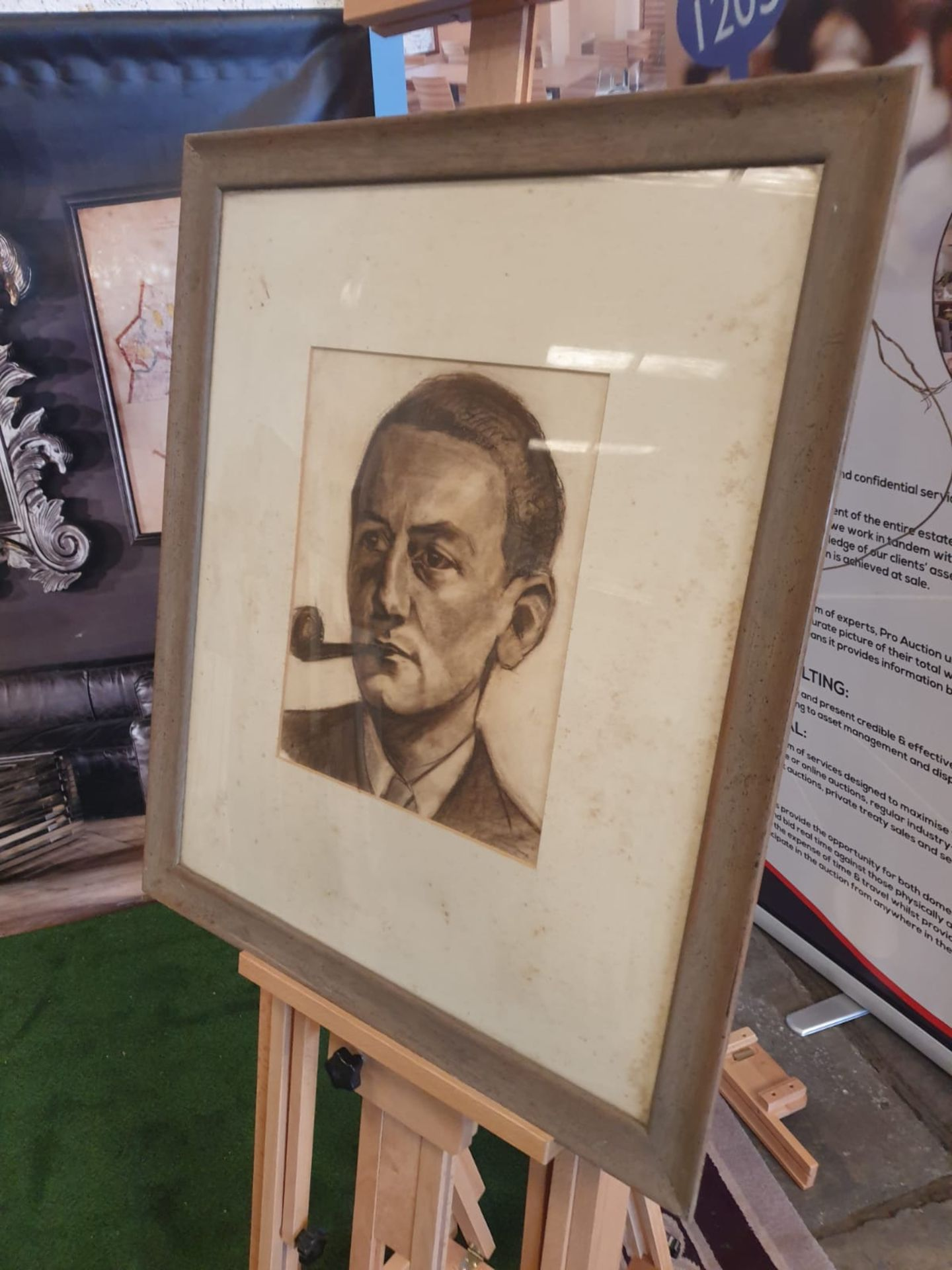 Framed portrait drawing charcoal and pencil of male sitter with pipe. 67 x 78cm - Image 2 of 3
