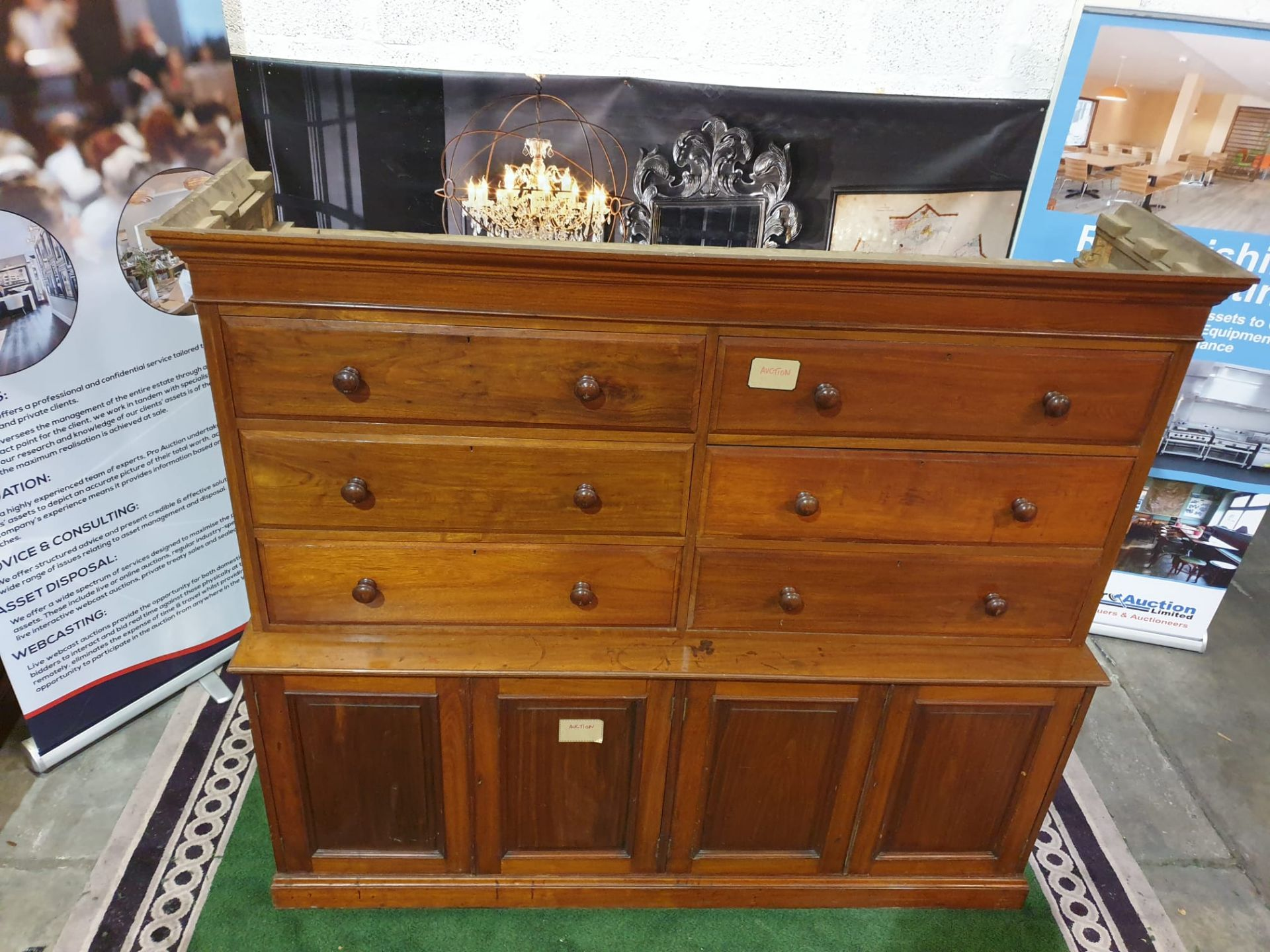 A late Victorian / early Edwardian mahogany chest combined chest of drawers and cupboard. The - Image 4 of 5