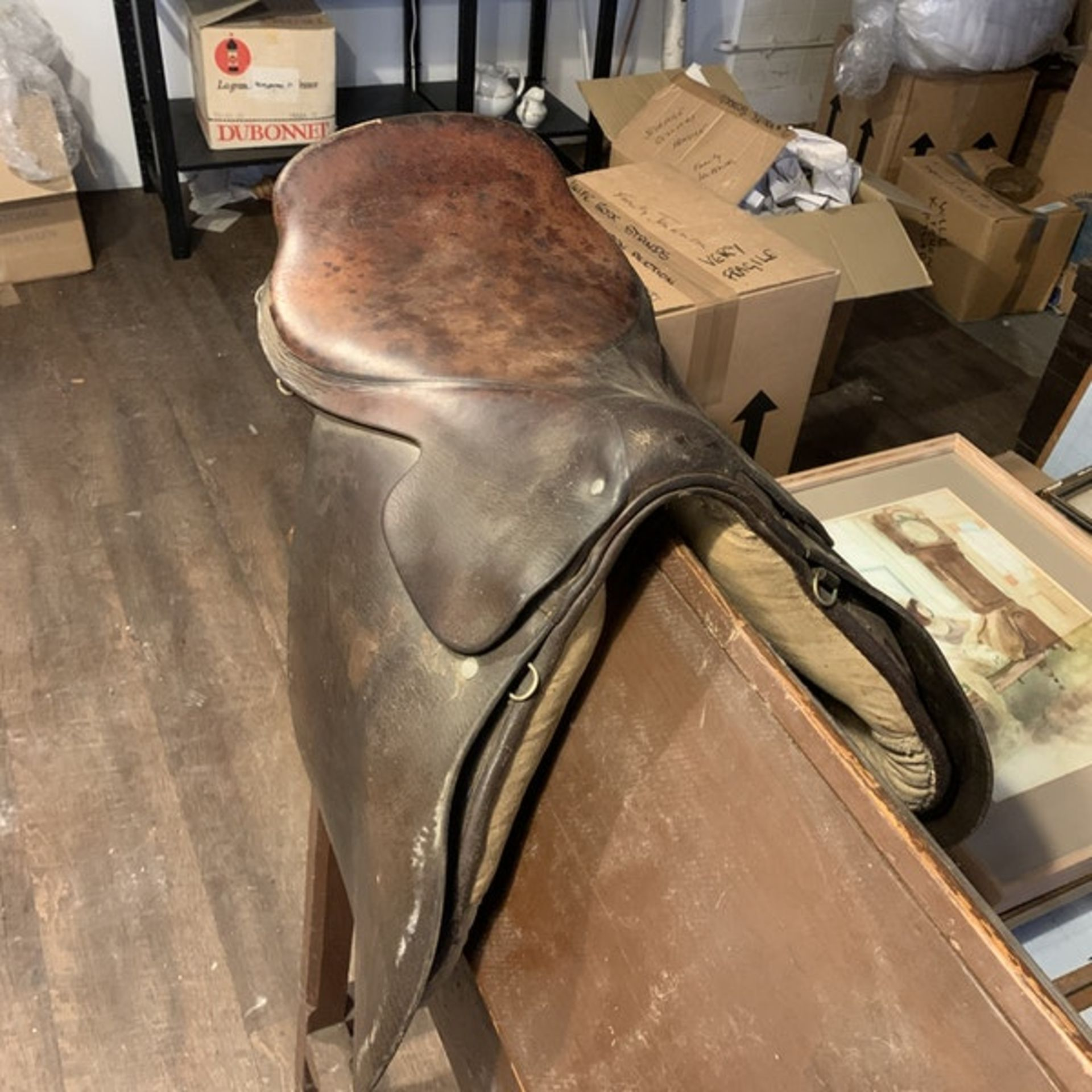 Vintage leather horses saddle. c. Circa 1960 Height 90 cm; Length 48 cm; Depth 45 cm