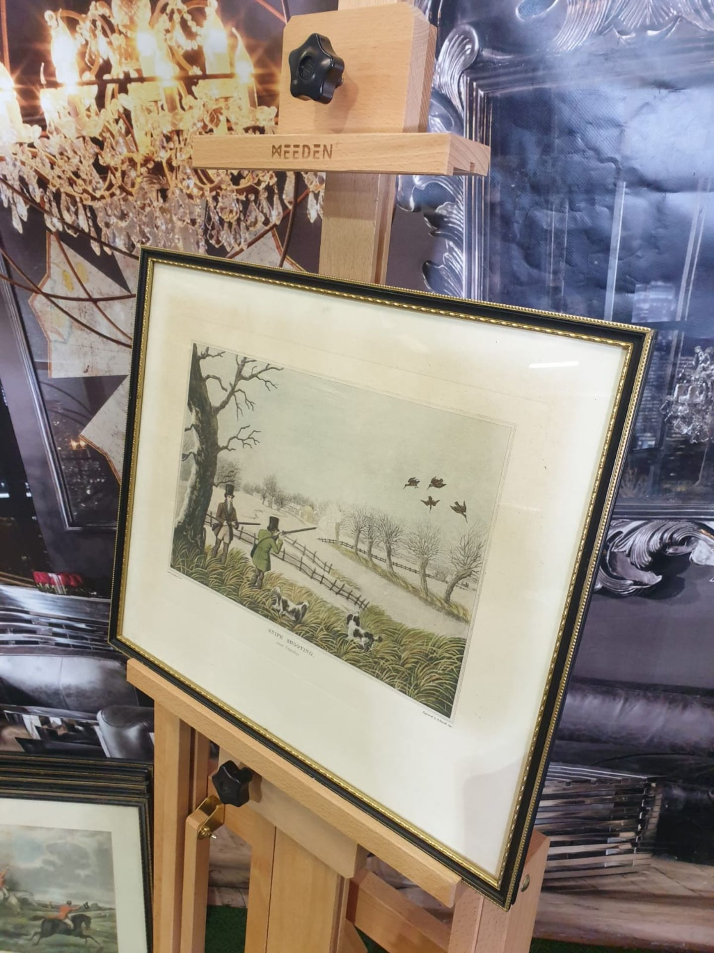 Framed vintage aquatint Snipe hunting near Uxbridge HAVELL Jr., Robert. Publisher: J Brooker 5 - Image 2 of 5