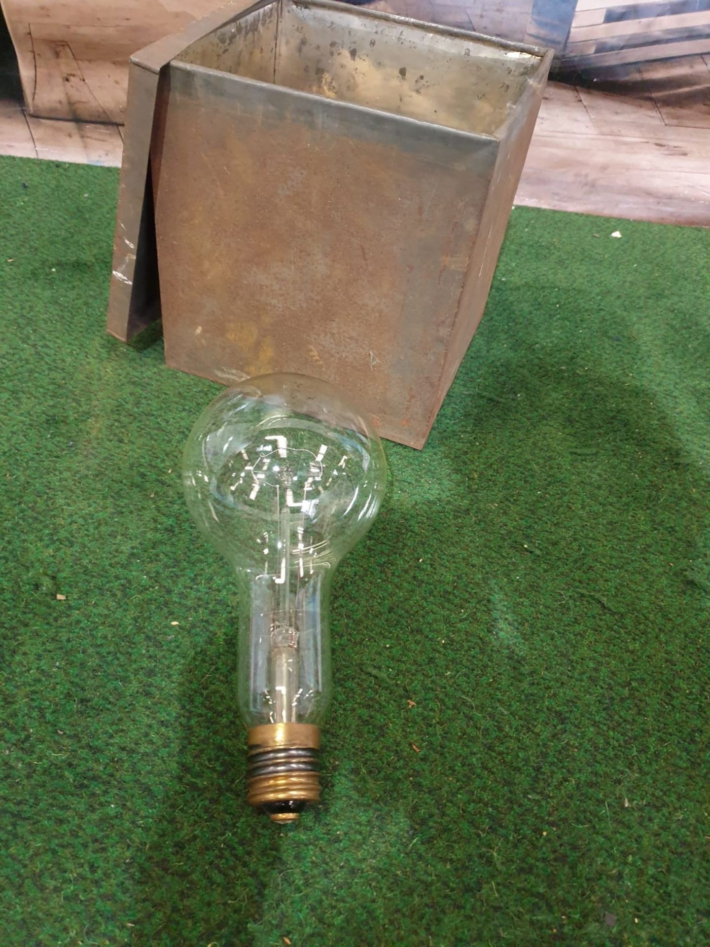 Large electric light bulb with screw fitting, Edison origin.Large electric light bulb with screw