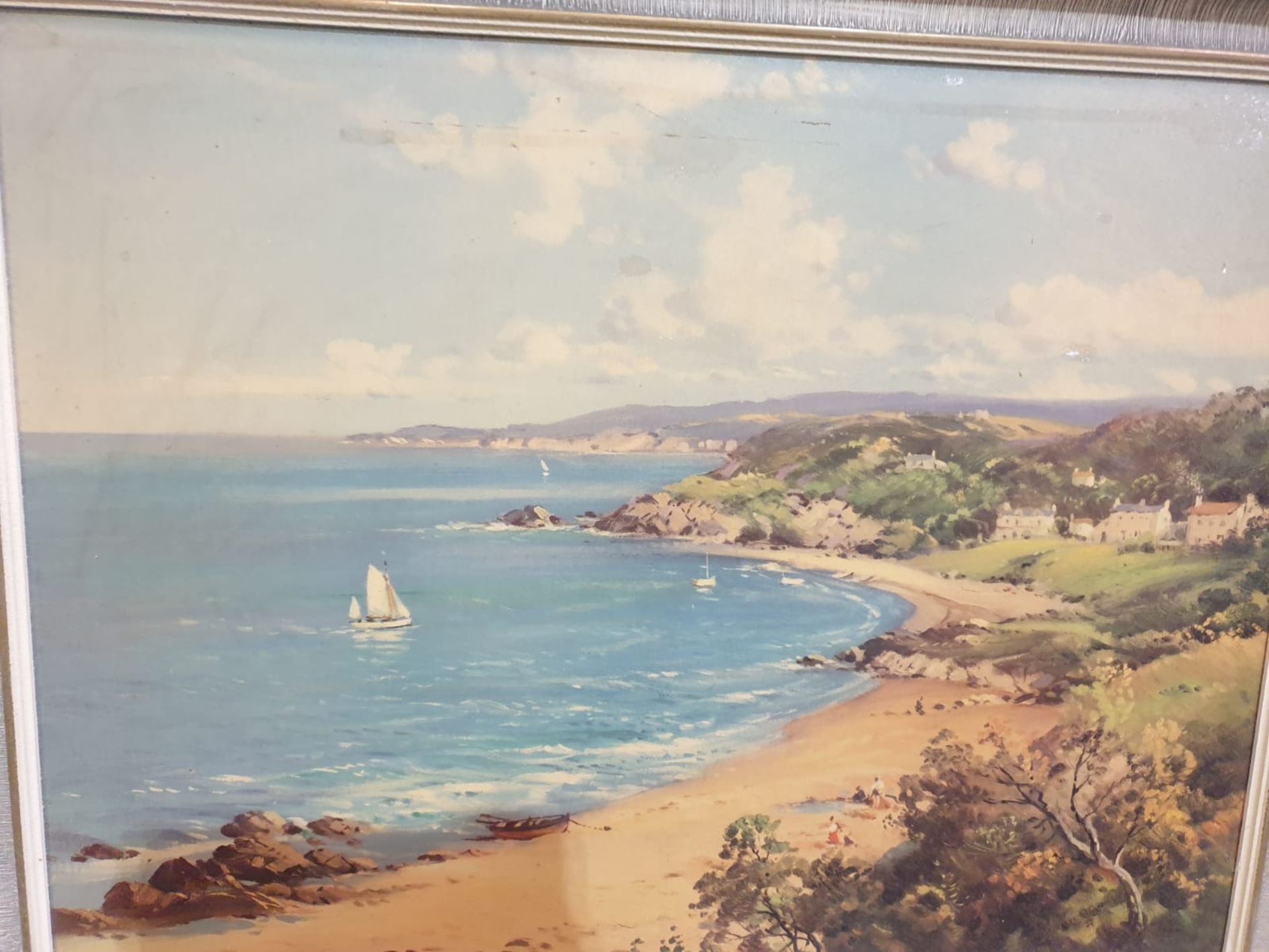 Framed signed painting Sailing ships, sandy beach William McGregor was a Scottish artist in the late - Image 4 of 5