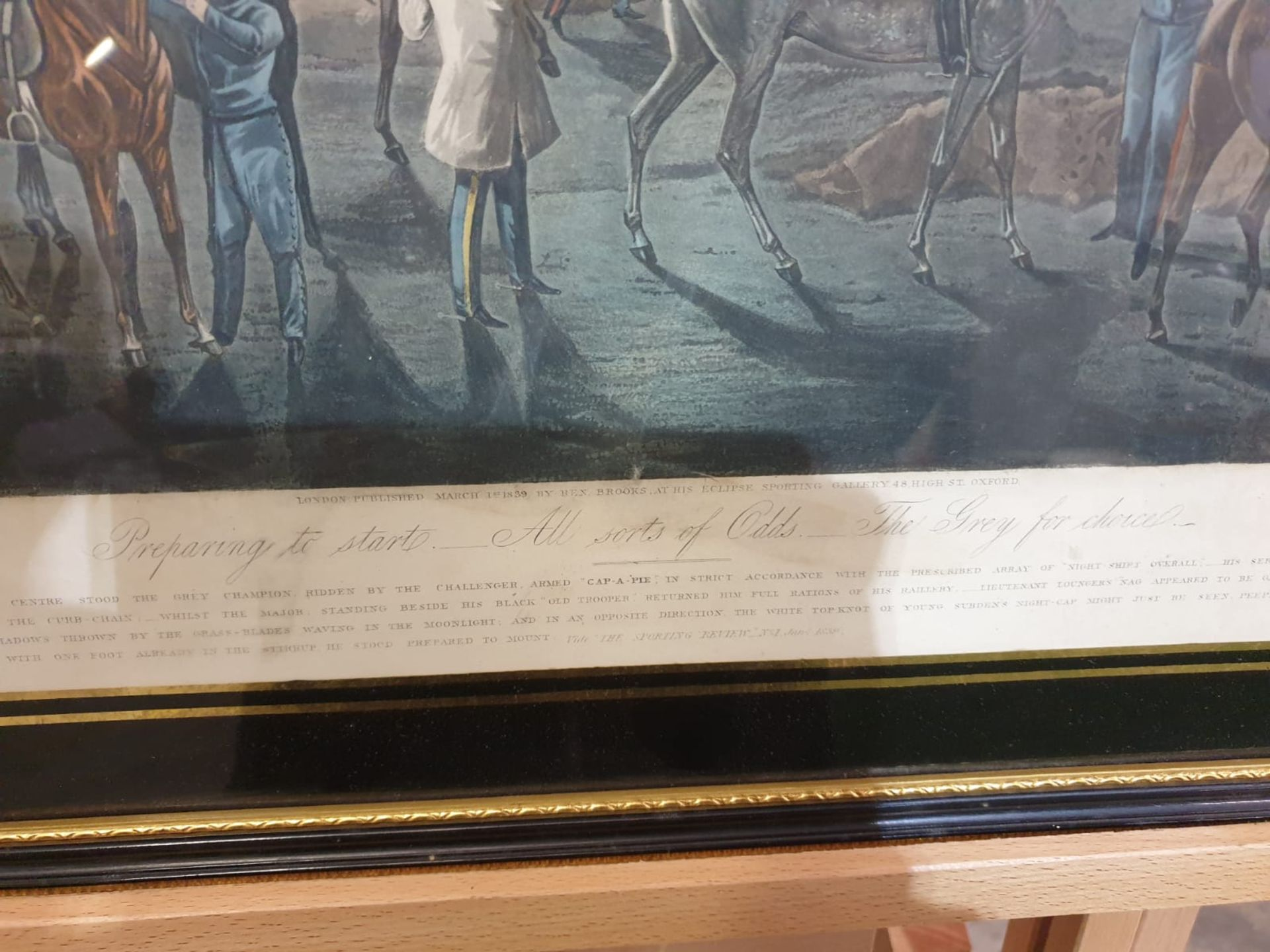 Framed vintage print .The First Steeplechase on Record - Ipswich, the watering place behind the - Image 5 of 6