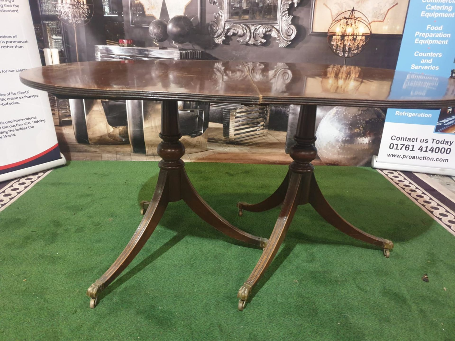 Dining Table and 4 x Chairs A Regency style mahogany and crossbanded D-end twin pedestal extending - Image 2 of 5