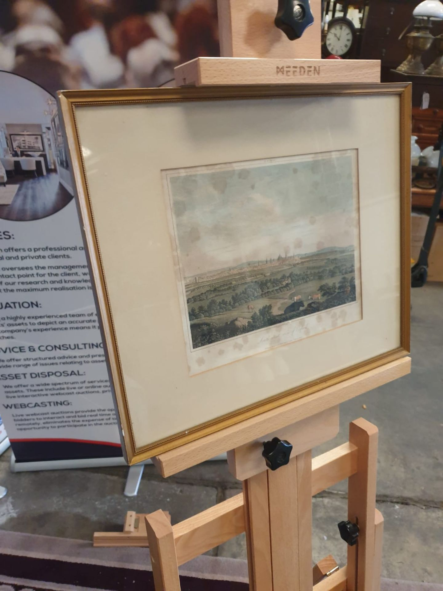 Framed print A south west view of Oxford with cattle 42 x 36cm - Image 2 of 3