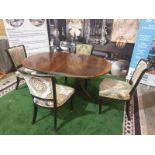 Dining Table and 4 x Chairs A Regency style mahogany and crossbanded D-end twin pedestal extending