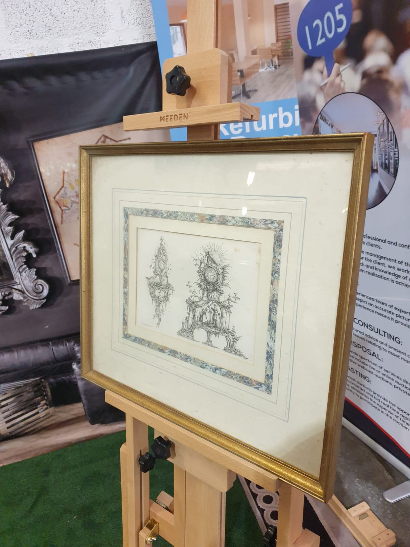 Framed Print Clock Cases, in Chippendale Drawings 54 x 46cm - Image 2 of 3