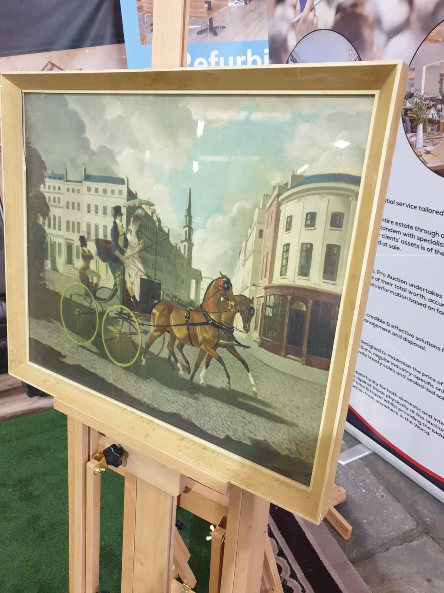 Framed coloured print In Regency Times, (Regency Figures, Horse and Carriage, in a City Street)After - Image 3 of 4
