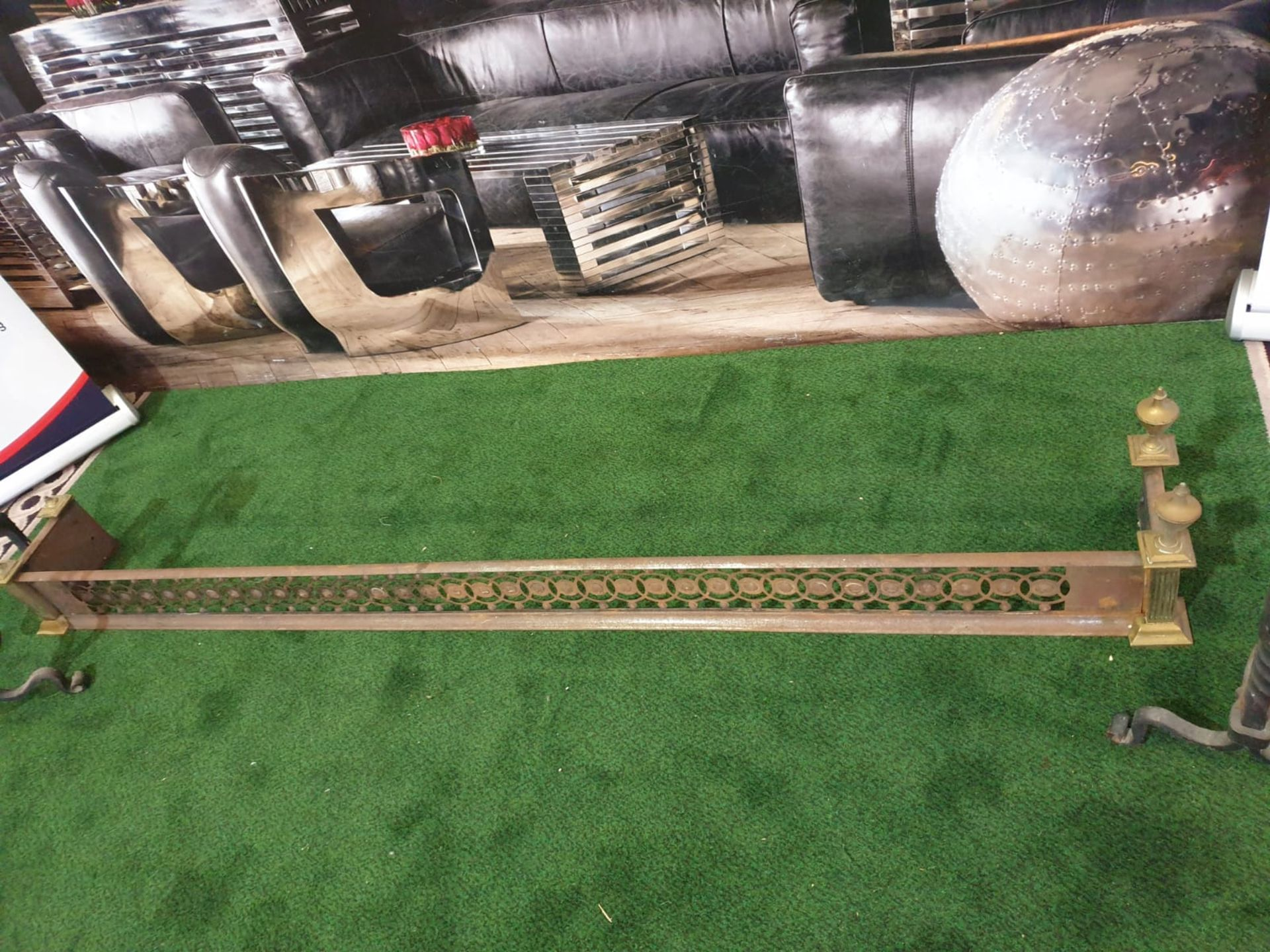 A Brass fire guard 180 x 21cm and a pair of wrought andrions - Image 2 of 4
