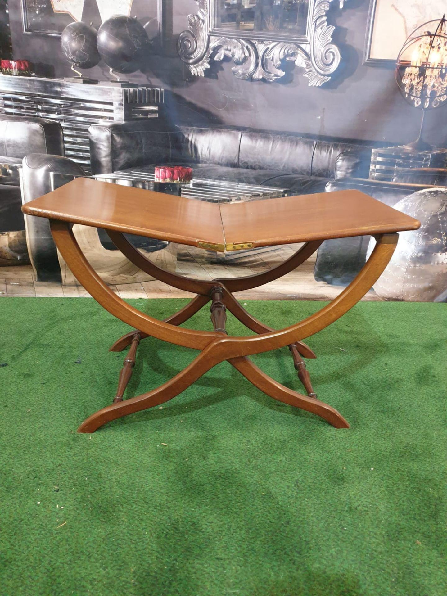 A polished mahogany folding table 76 x 43 x 49cm (Nb bar latch missing) - Image 2 of 5