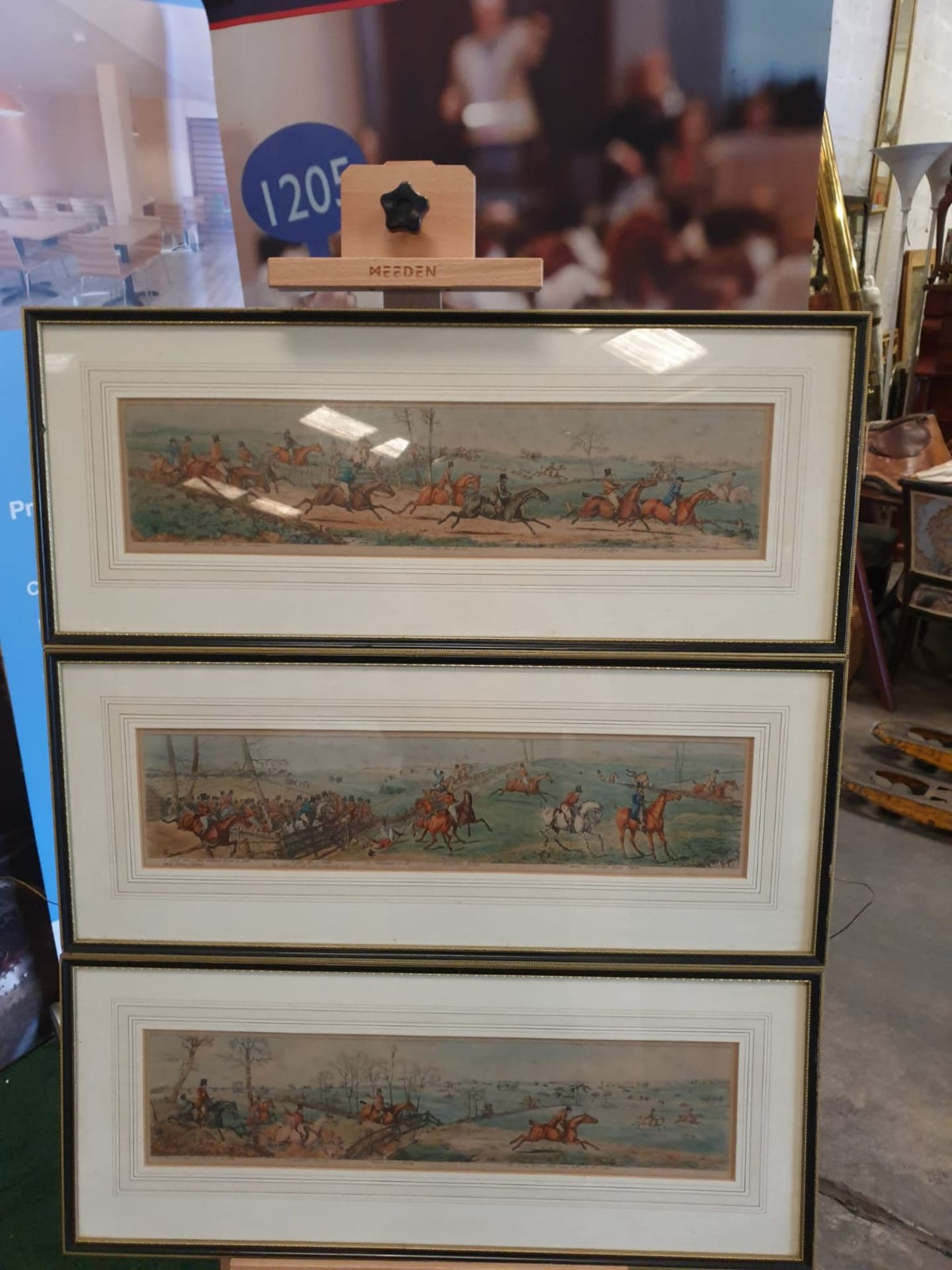 A set of 3 framed coloured panorma Hunters prints titled Lets take the road, Excersive polite, A