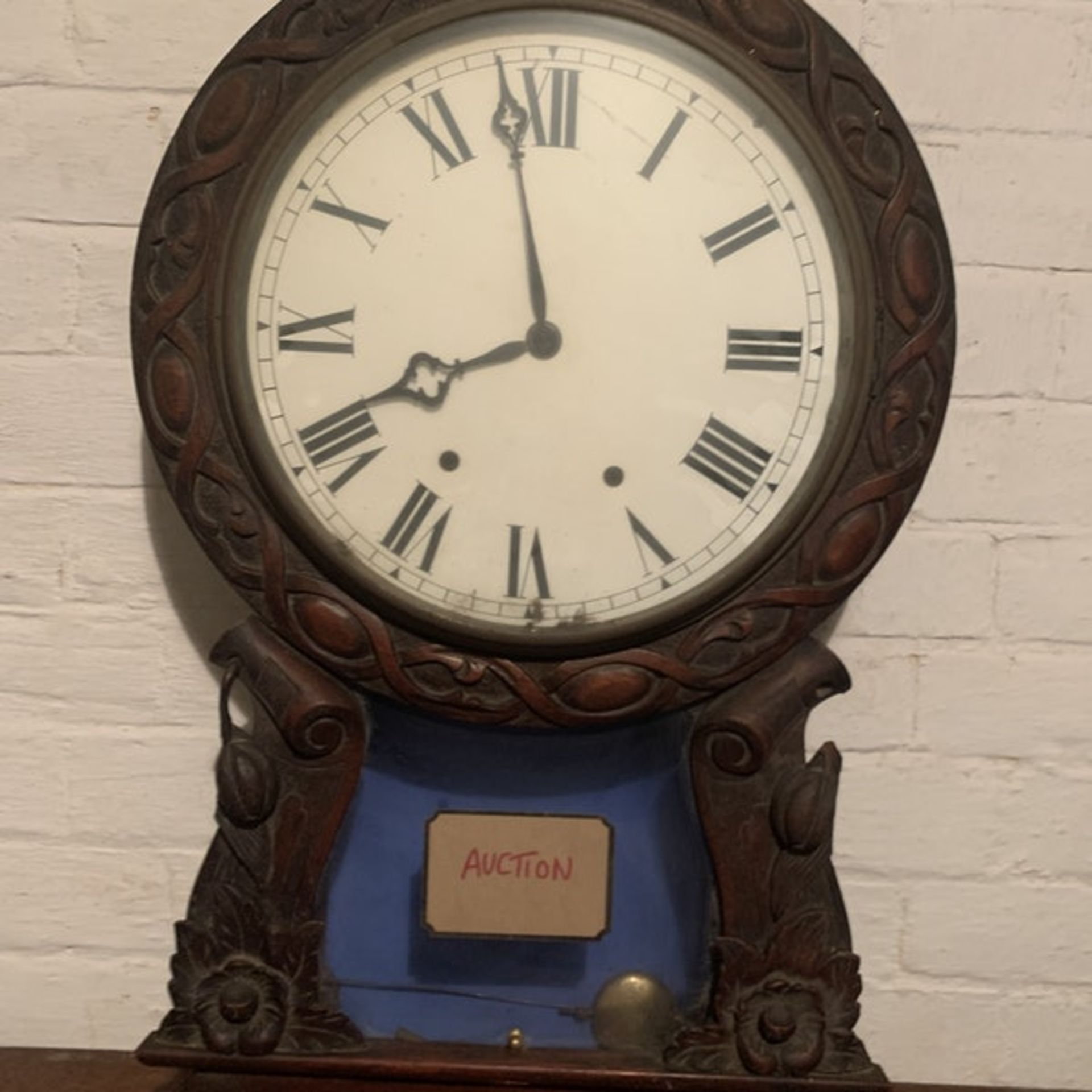 Late Victorian era, Hand carved black walnut, two train, dual spring powered, eight day, time and