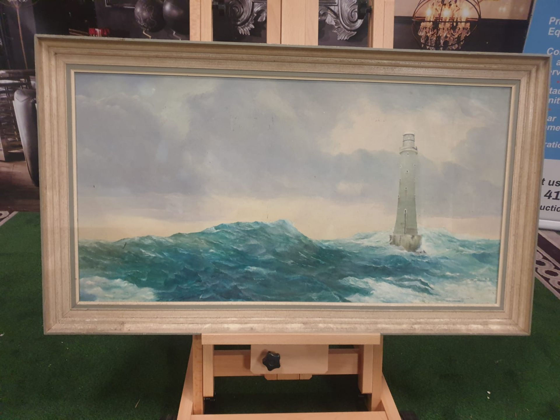John Hamilton oil on canvas/board of Bishops Rock lighthouse near Tresco Isles of Scilly Oil on