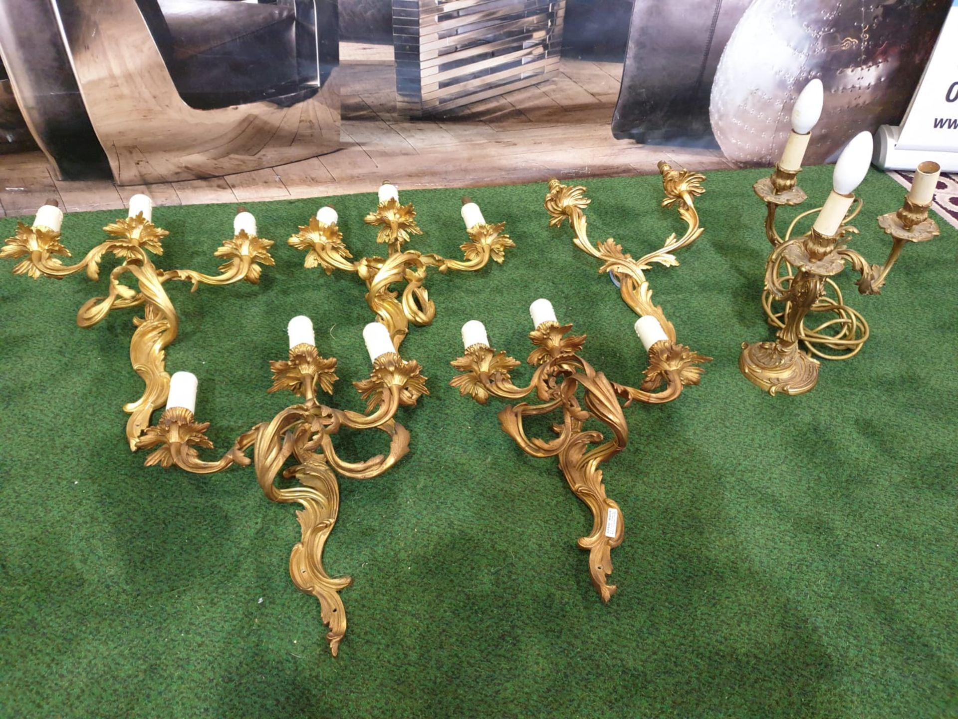 A set of 4 x French Dore Bronze triple arm branch Candelabra wall sconces in the Louis XV Style - Image 2 of 7