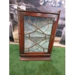 Mahogany glass corner cabinet top plinth a single glaszed door interior with two shelves 53 x 37 x