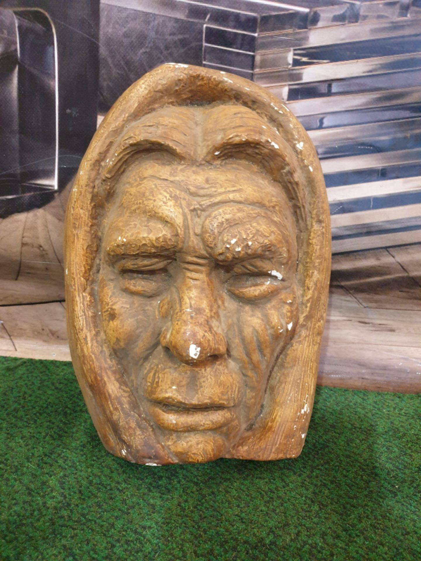 A well executed plaster sculpture of a mans face, not attributed to any artist - Image 2 of 3