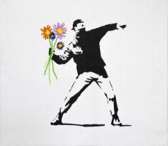 BANKSY X MANI-KURE 'THROWING FLOWERS' -ORIGINAL 1/1 -2021