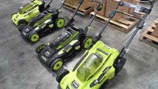 "RYOBI 20"" BRUSHLESS 20"" LAWN MOWERS (NO BATTERIES)(IN BOX) (QTY. 4)"