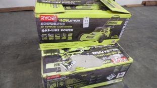 "RYOBI BRUSHLESS 20"" LAWN MOWERS (IN BOX) (QTY. 3)"