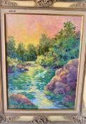 """LEISURE RIVERLET 18"""" X 24"""" OIL SIGNED"""