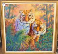 """TIGERS 36"""" X 36"""" SIGNED LUCILLE D. THOMAS"""
