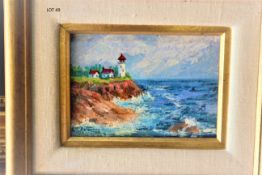 """LIGHT HOUSE VIEW ON THE CLIFF 5"""" X 7"""""""